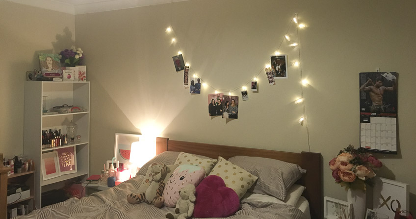Fairy lights with photo clips from Wish app