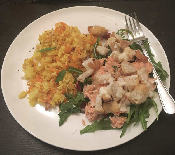 Review of nz meal kit delivery services my food bag woop food my food bag flaked salmon and rocket salad with baked rice cooked by lena talks forumfinder Images